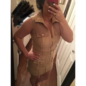 NWT Bebe tan faux suede tunic SzL
